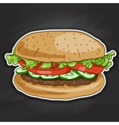 Burger color picture sticker vector image