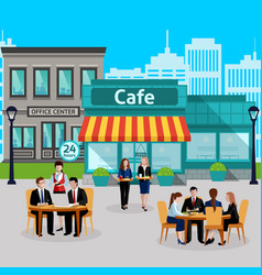 business lunch people colored composition vector image