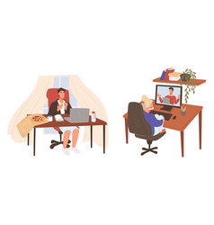 Business meeting online via computers and laptop vector