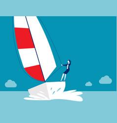 business struggle regatta ship sailing time vector image