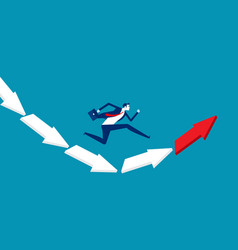 Businessman jumping from falling arrow to rising vector