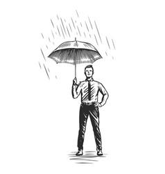 Businessman with umbrella standing under rain vector