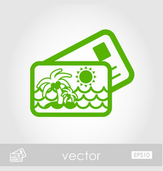 card with palm outline icon summer vacation vector image