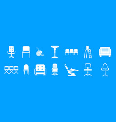 chair icon blue set vector image