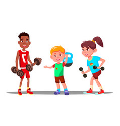 Children are engaging in fitness in the gym vector