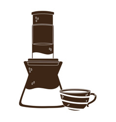 coffee brewing methods aeropress and cup vector image