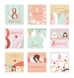 Collection of 8 march greeting cards party vector