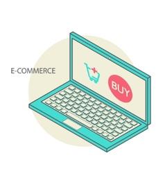 Concept of online shop in 3d line design vector