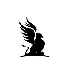 Creature with body lion and eagle head vector