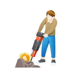 cryptocurrency concept with young man miner and vector image
