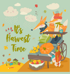 cute foxes with wheelbarrow with fruits and vector image