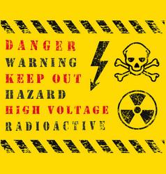 danger safety warning icon set grunge vector image