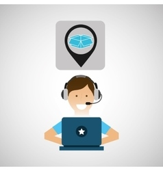 Delivery service concept call center package vector