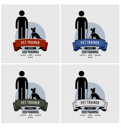 Dog training logo design artwork of pet trainer vector