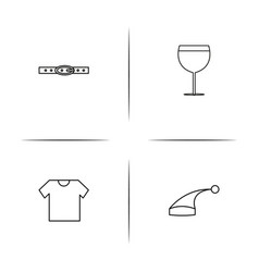 Dress and clothes simple linear icon setsimple vector