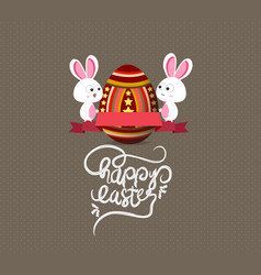 easter eggs and bunny greeting card with label vector image
