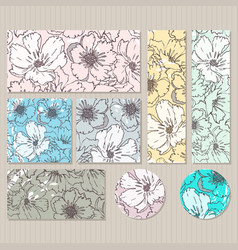 Elegant cards with floral poppy bouquets vector