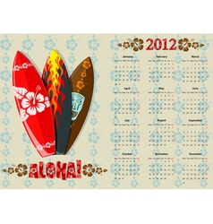 European aloha vector calendar 2012 with surf boar vector