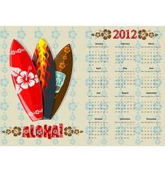 european aloha vector calendar 2012 with surf boar vector image vector image