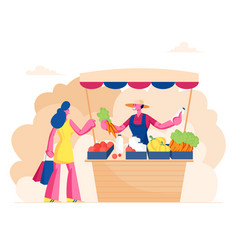 farmer sell fresh vegetables and dairy products vector image