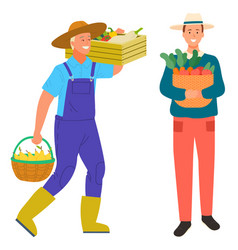 Farming man carrying box with vegetables harvest vector