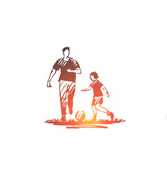 father ball sport son family concept vector image