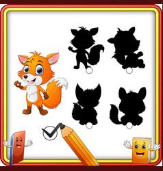 find the correct shadow cartoon baby fox waving h vector image