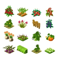 Flash Game Farming Elements Set vector