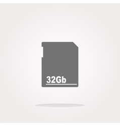Flash memory card web button icon isolated vector