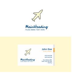 flat aeroplane logo and visiting card template vector image