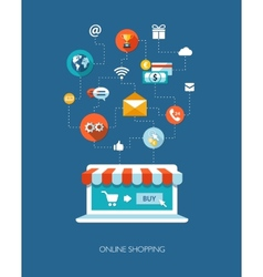 Flat design business composition with online sho vector