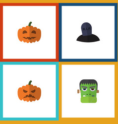 Flat icon halloween set of tomb gourd pumpkin vector