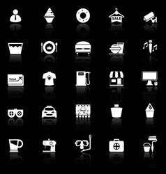 Franchisee business icons with reflect on black vector image