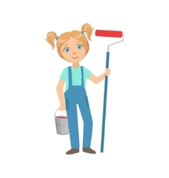 Girl With The Metal Bucket And Painting Roll Kid vector image