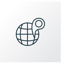 globe with pin icon line symbol premium quality vector image