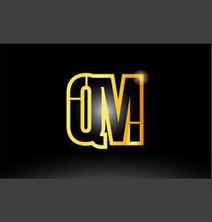 Gold black alphabet letter qm q m logo vector