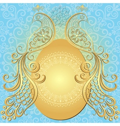 Gold-blue easter frame vector image