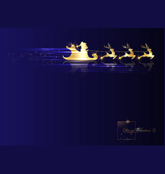 gold santa claus riding on sleigh with reindeer vector image