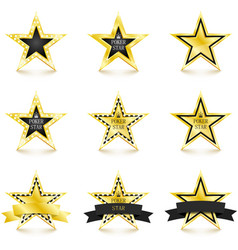 golden star with diamonds set isolated on white vector image