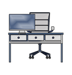 grated office desk with drawers and computer vector image