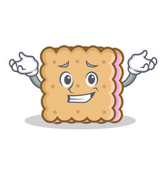 Grinning biscuit cartoon character style vector