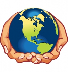 Hands with earth vector