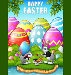 Happy easter bunnies painting easter egg in the wo vector