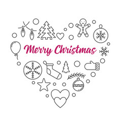 heart xmas outline icons merry vector image