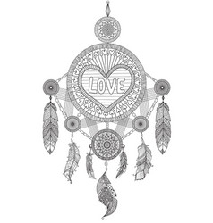 Hearted shape dream catcher vector