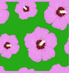 Hibiscus pink floral seamless pattern on green vector