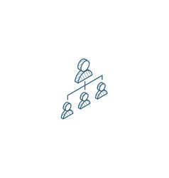 Hierarchy isometric icon 3d line art technical vector