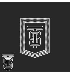 Hipster ts initials monogram frame black vector