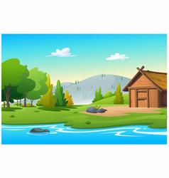 hut near stream in bright morning vector image