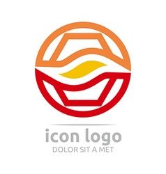 Icon hexagon circle wave design icon vector